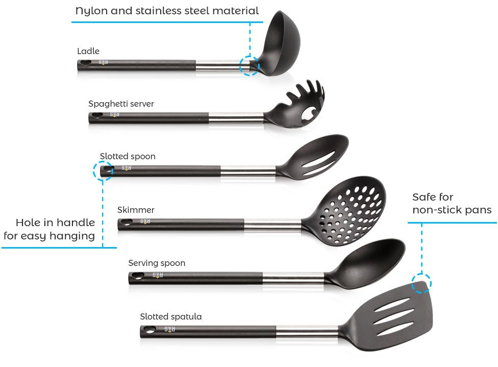 Features kitchen utensil set